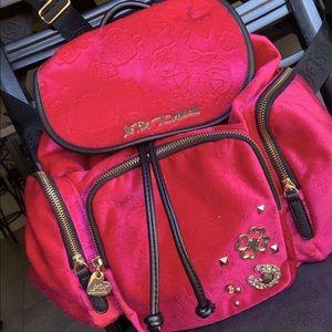 Hot pink Betsey Johnson velvet book bag